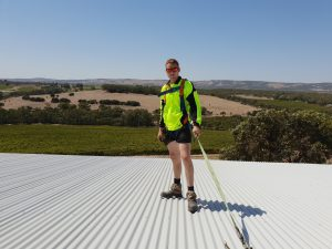 Roof Safety Systems SA team demonstrate how to use roof anchor